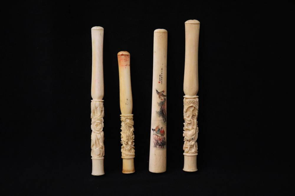 4 Chinese bone carved cigarette holders