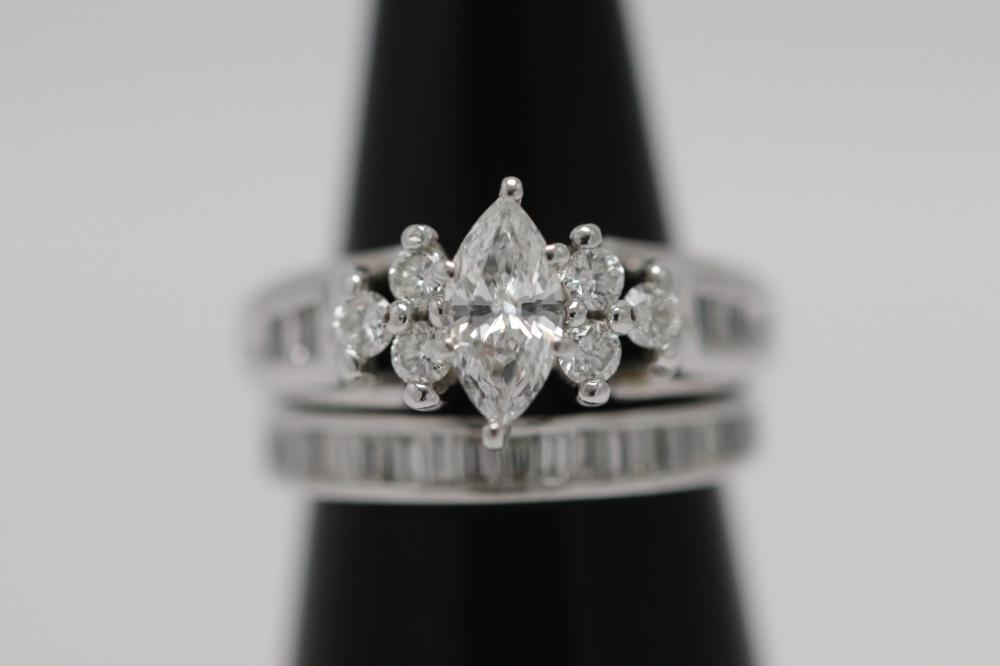14K W/G double diamond ring