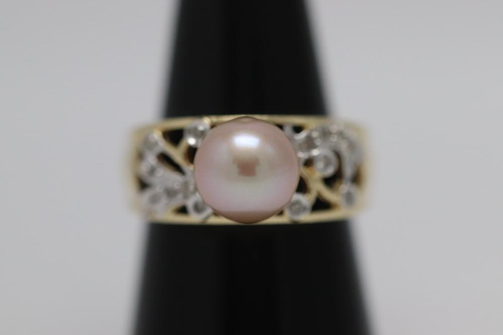 14K Y/G cultured pearl diamond ring