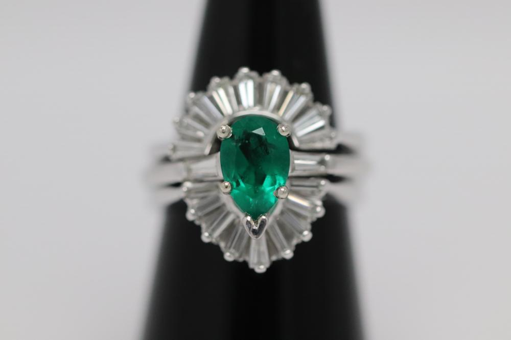 14K W/G emerald ring w/ 14K diamond ring guard