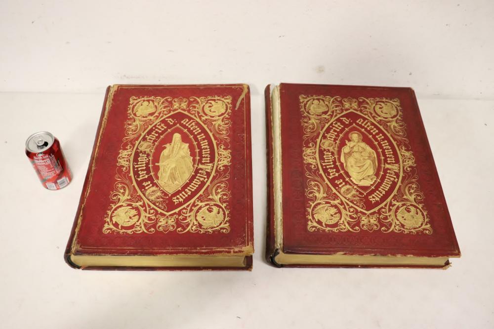 Lot 102: 2 volumes of antique German Heilige Schrift bible