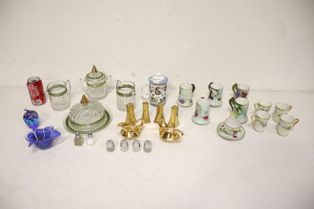 Lot of Limoge porcelain fancy glasses