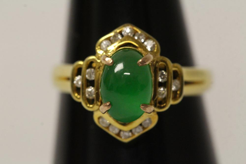Lot 192A: 14k y/g jadeite diamond ring