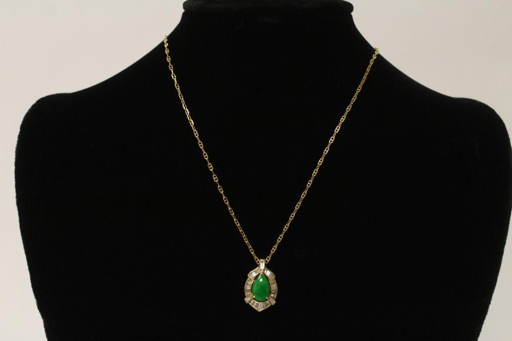 Lot 193A: 18k y/g jadeite diamond pendent w/ 14k y/g necklace
