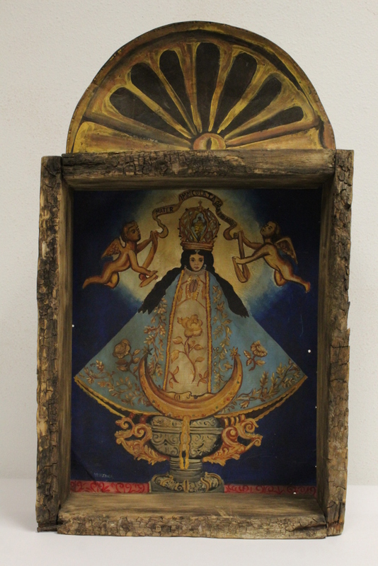 Mexican oil painting retablo in shadow box