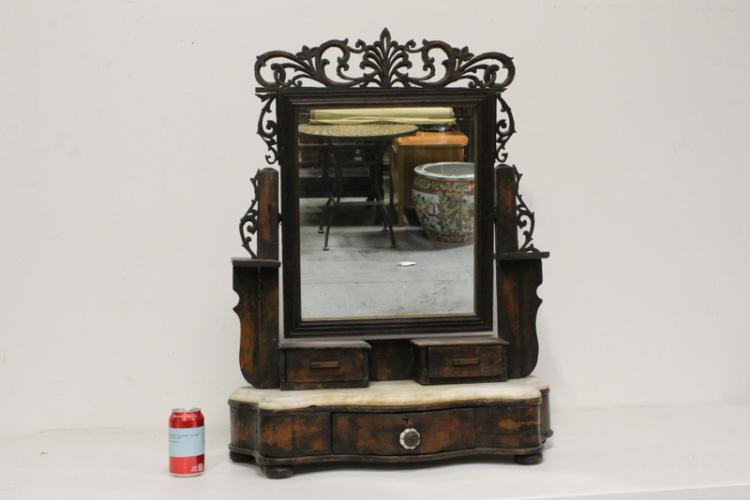 19th c. marble top dressing mirror w/ drawer