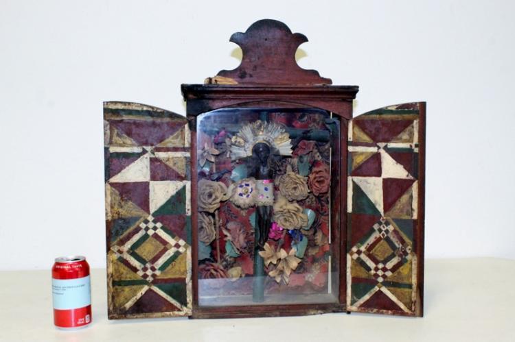 Spanish colonial crucifix in pastel retablo case
