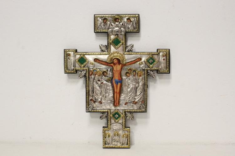 A Russian crucifix decorated w/ silver and gold gilt