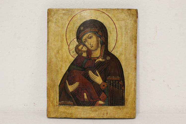A fine Russian antique hand painted icon
