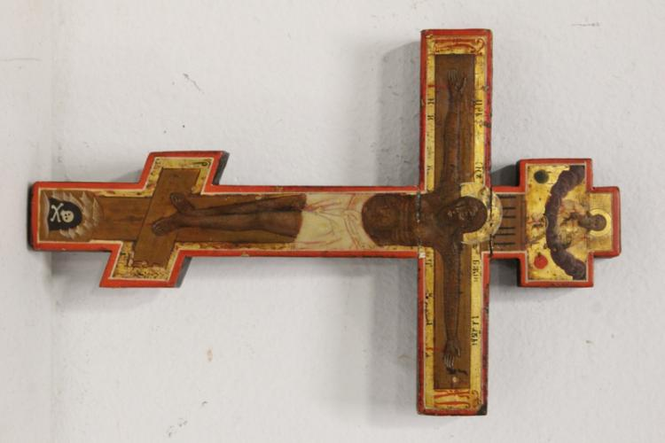 A Russian antique hand painted icon crucifix