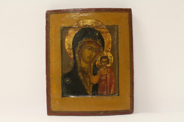19th century Russian icon depicting Jesus and Maria