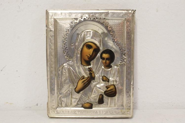 Antique Russian icon covered w/ Russian silver