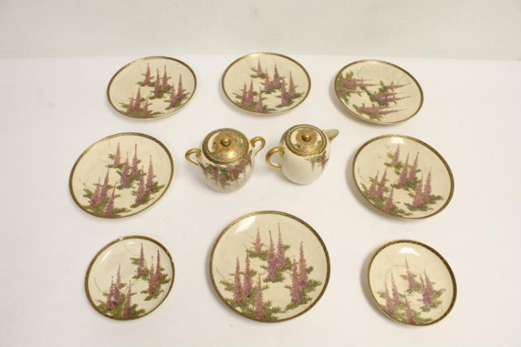 Partial set of Japanese satsuma tea set (chips and hairline)