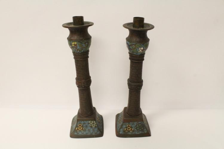 Pair Japanese bronze champleve candle holders