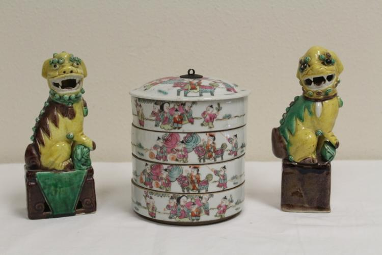 Chinese famille rose candy box and pair fulion