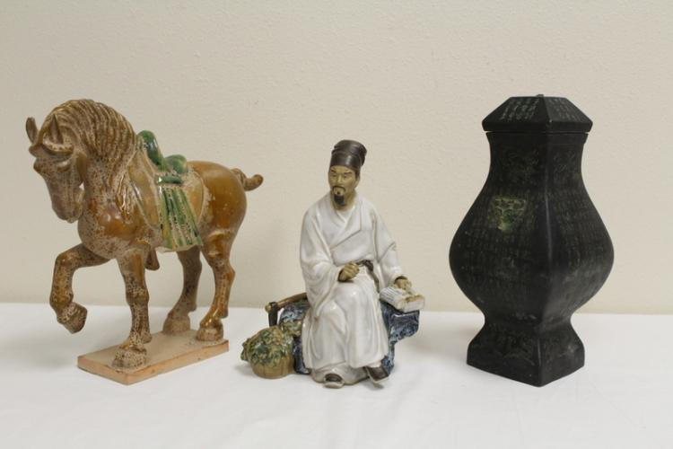Sancai style horse, pottery figure and a metal jar