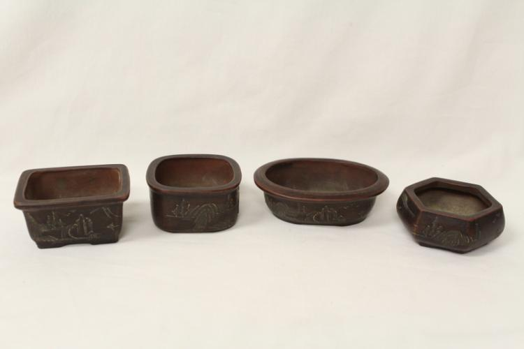 4 Yixing clay planters