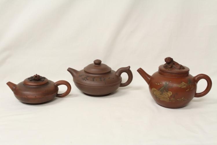 3 Yixing teapots