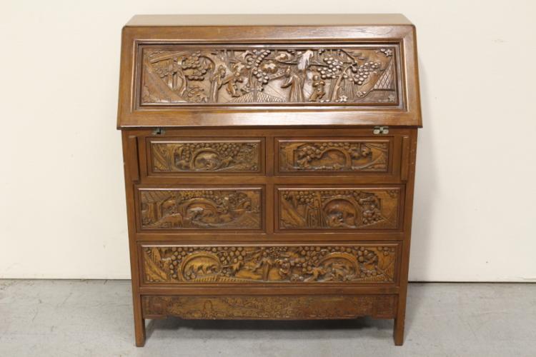 Chinese teak wood carved slant front desk