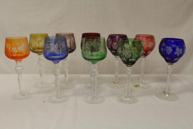 10pc Venetian cut crystal wine goblets