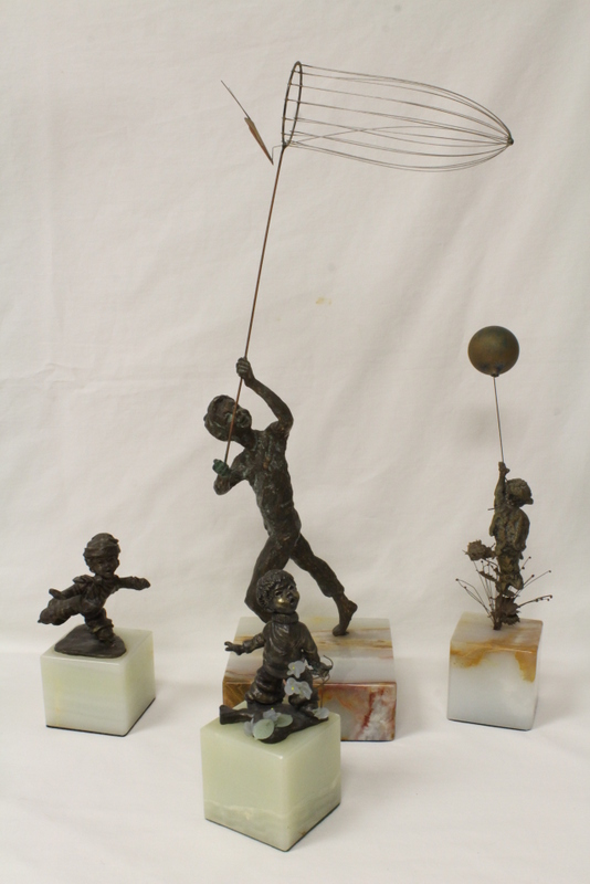 4 bronze sculpture on onyx base depicting children