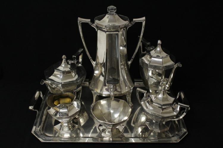 Victorian silverplate tea and coffee set