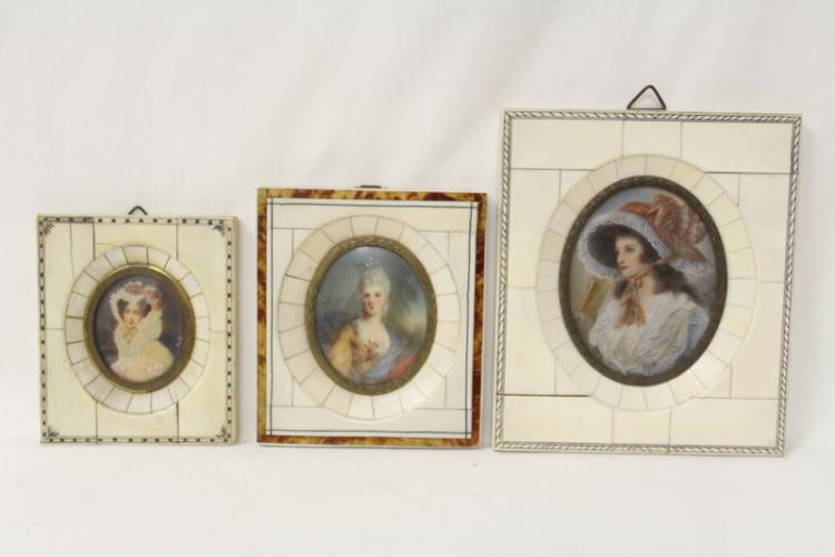 3 hand painted miniatures with bone frame