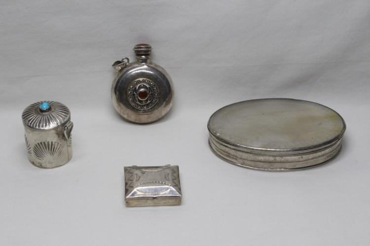 4 sterling silver boxes/bottles