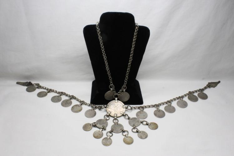 A sterling necklace with silver coins, wt. 162gm