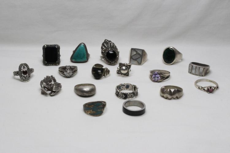18 sterling rings with stones