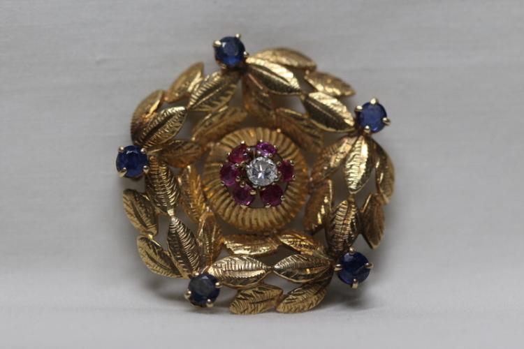 Victorian 14K diamond brooch w/ various stones