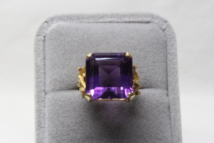 Beautiful 18K rose gold amethyst ring