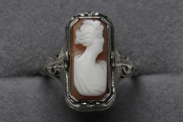 Victorian 14K flip (cameo/onyx, diamond) ring
