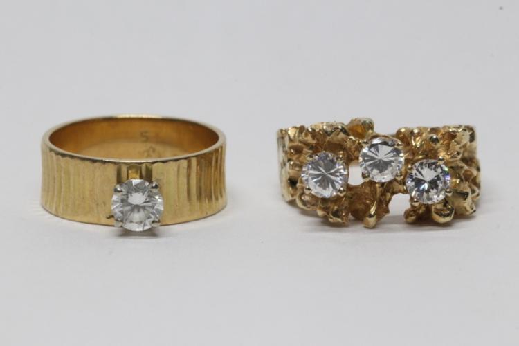 Two 14K Y/G simulated diamond rings