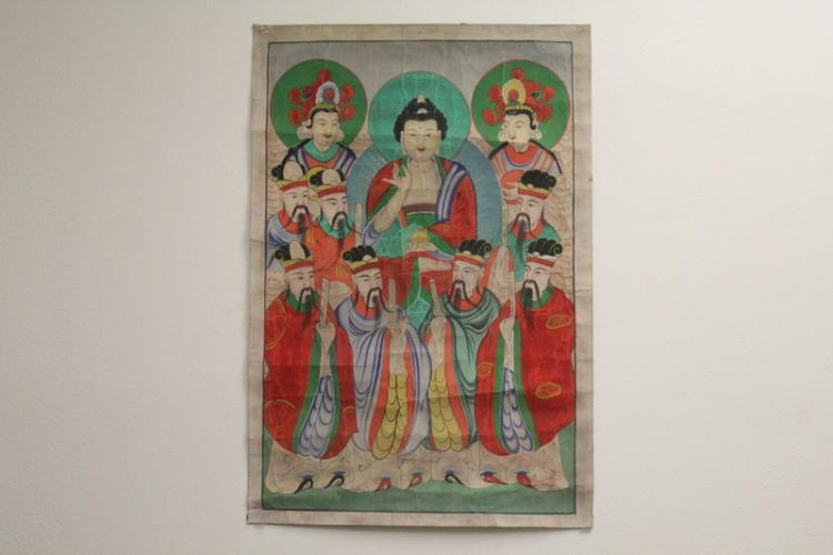 Korean antique w/c on silk laid on paper