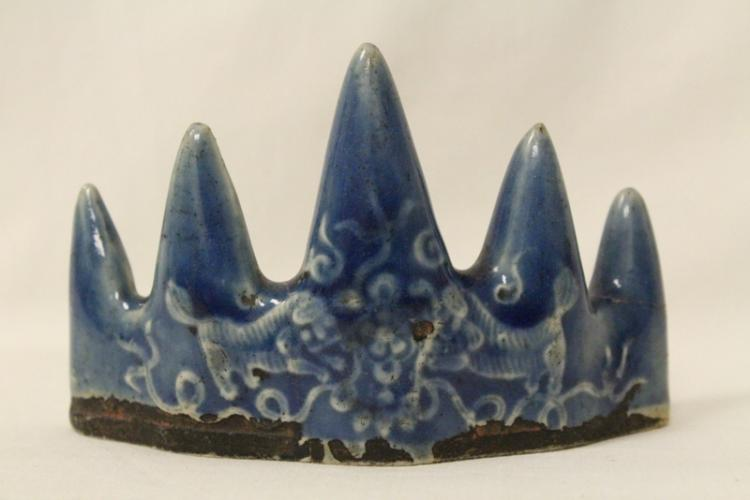 Korean 18th/19th c. blue glazed brush mountain