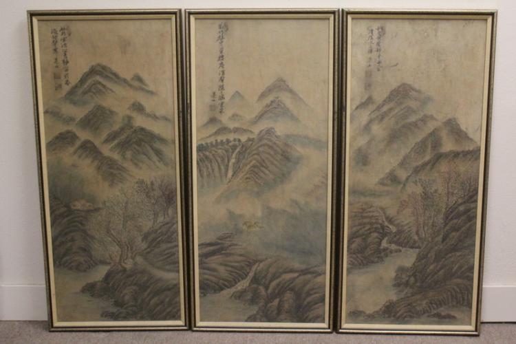 3 framed 19th century Korean watercolors