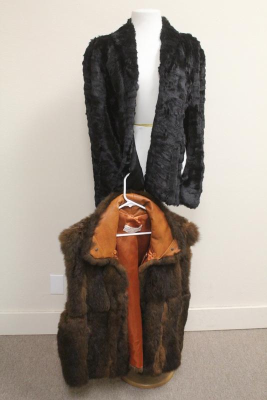 Lady' sheep fur coat & a half length opossum coat