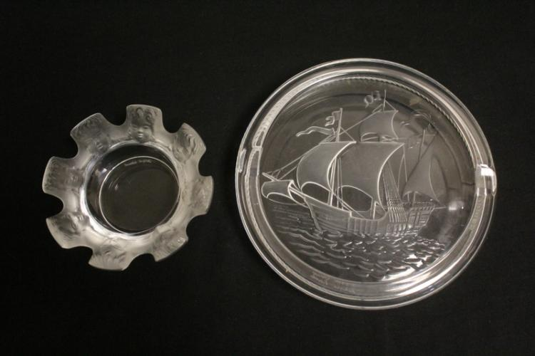2 Lalique crystal ash trays