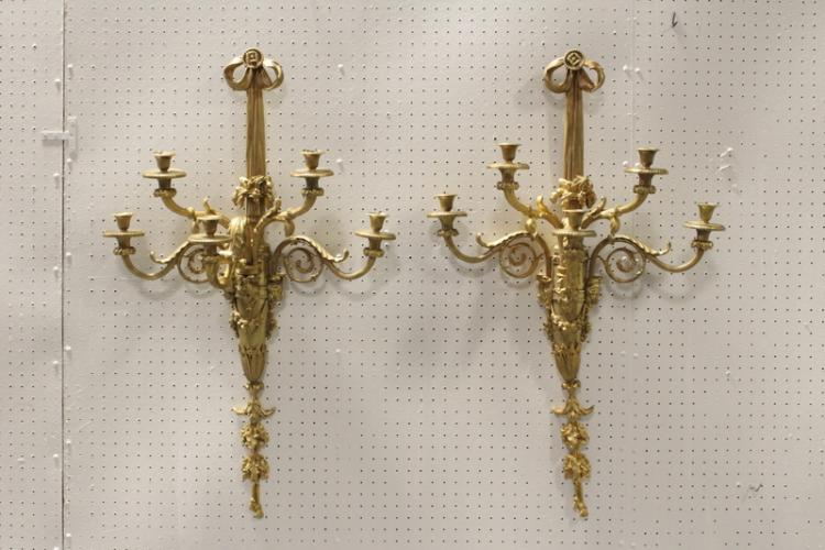 Pair French 19th c. gilt bronze wall sconces