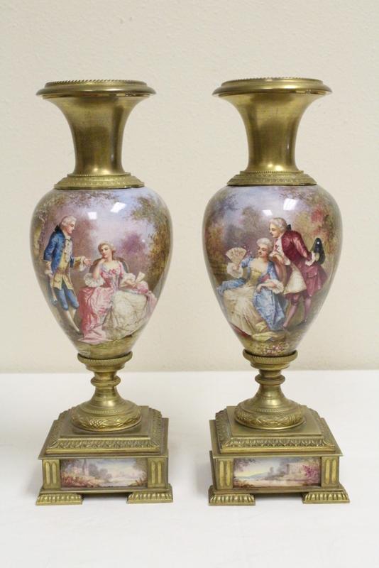 Pr 19th c. French/Austria enamel on copper vase