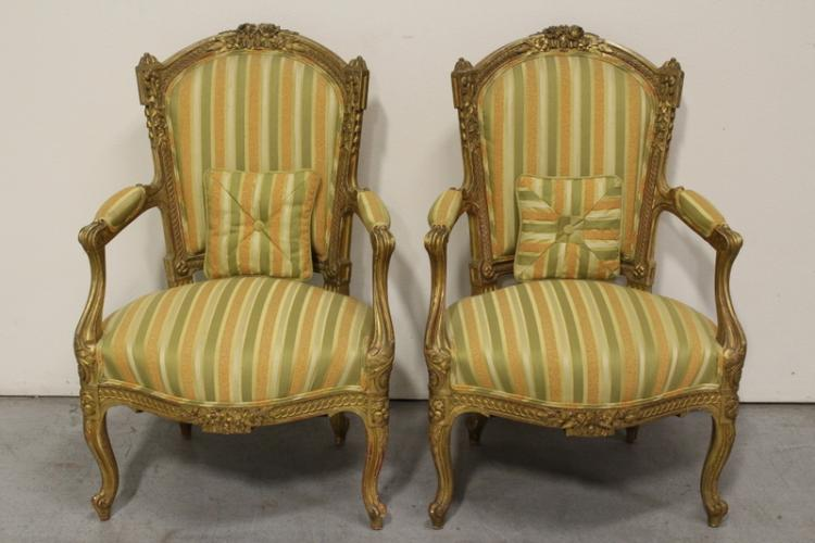 Pair French 19th century gilt wood armchairs