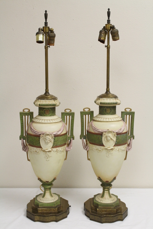 Pair antique bisque lamps by Royal Dux
