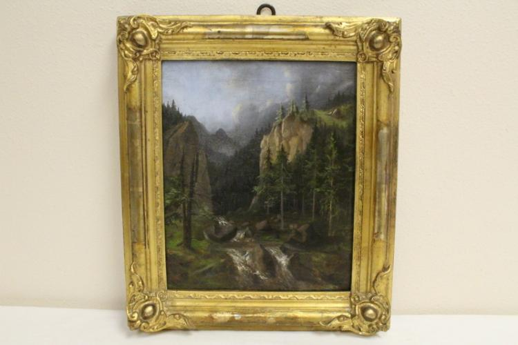 Oil on paper laid on canvas signed Albert Bierstadt