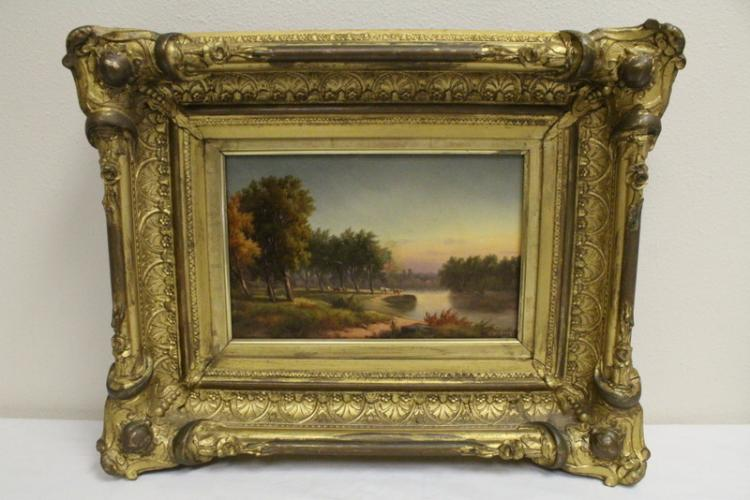 Oil on canvas, signed Worthington Whittredge