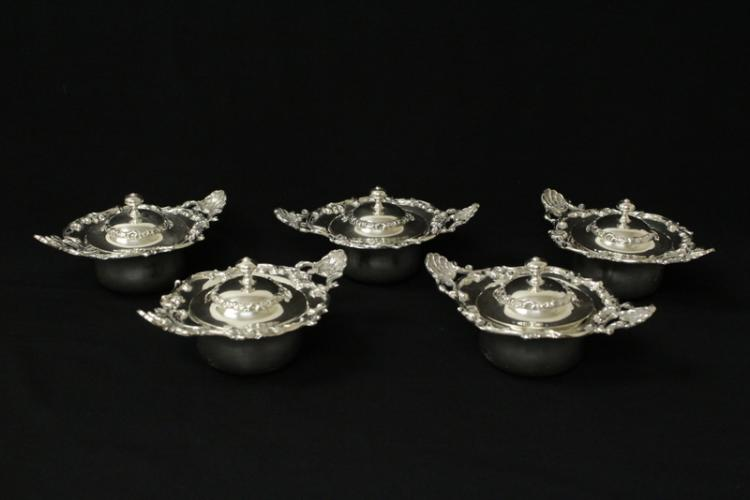 5 Victorian sterling covered bowls