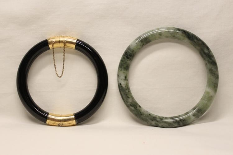 Black onyx bracelet  and a jadeite bangle bracelet