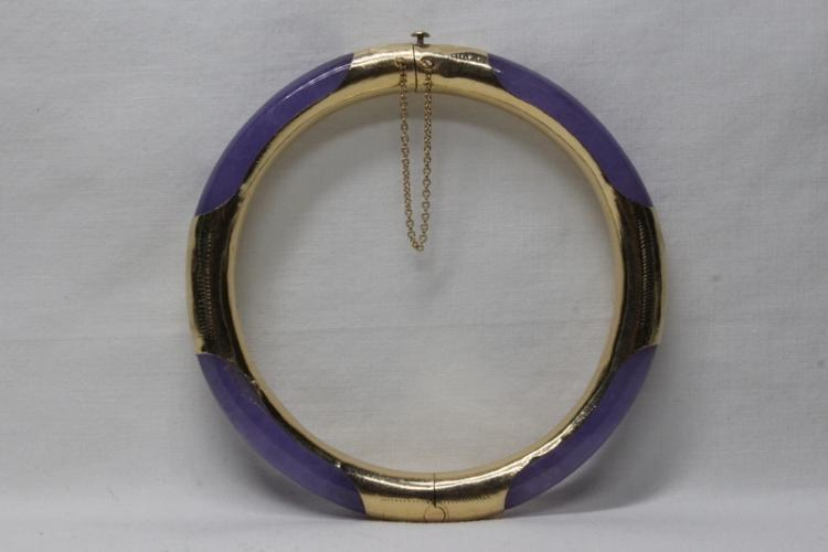 Lavender jadeite bangle bracelet w/ 14K envelop