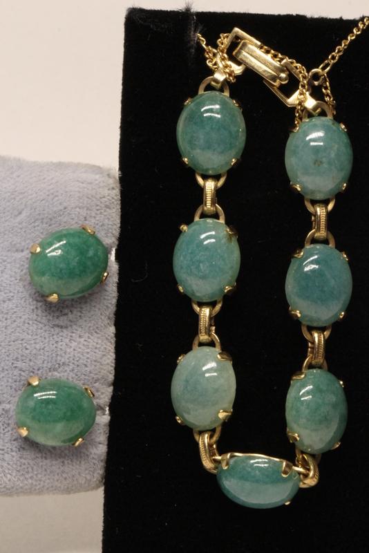 14K Y/G jadeite bracelet with pr 14K earrings