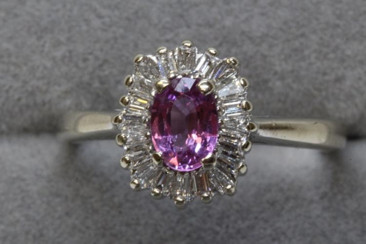 A rare 14K W/G pink sapphire diamond ring